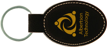 Black/Gold Leatherette Oval Keychain with Custom Laser Engraving