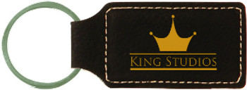 Black/Gold Leatherette Rectangle Keychain with Custom Laser Engraving