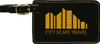 Black/Gold Rectangle Leatherette Luggage Tag with Custom Laser Engraving