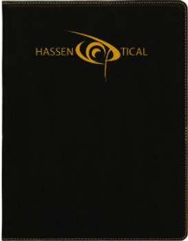 Black/Gold Leatherette Small Portfolio with Custom Laser Engraving