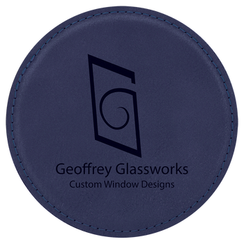 Blue Leatherette Round Coaster  with Custom Laser Engraving