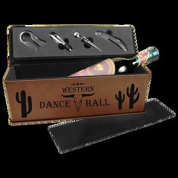 Engraved Dark Brown Wine Box with Tools
