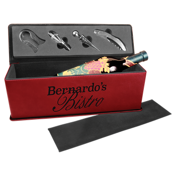 Engraved Rose Wine Box with Tools