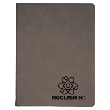 Gray Leatherette Portfolio with Custom Laser Engraving