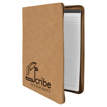 Light Brown Leatherette Portfolio w/ Zipper with Custom Laser Engraving