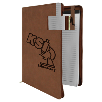 Dark Brown Leatherette Portfolio w/ Zipper with Custom Laser Engraving