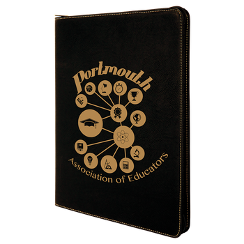 Black/Gold Leatherette Portfolio w/ Zipper with Custom Laser Engraving