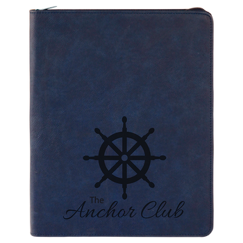 Blue Leatherette Portfolio w/ Zipper with Custom Laser Engraving