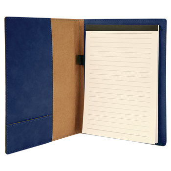 Blue Leatherette Small Portfolio with Custom Laser Engraving