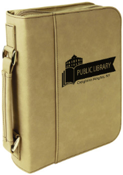 Light Brown Leatherette Large Book Cover w/ Zipper with Custom Laser Engraving