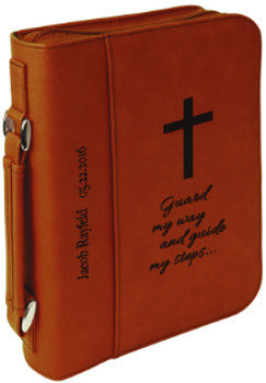 Rawhide Leatherette Large Book Cover w/ Zipper with Custom Laser Engraving