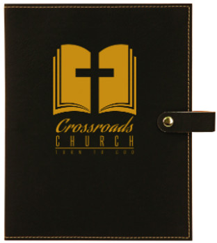 Black/Gold Leatherette Book Cover Snap Close with Custom Laser Engraving