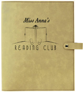 Light Brown Leatherette Large Book Cover Snap Close with Custom Laser Engraving