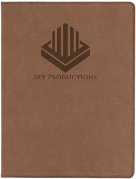 Brown Leatherette Portfolio with Custom Laser Engraving