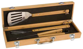 Engraved 3-Piece BBQ Set in Bamboo Box