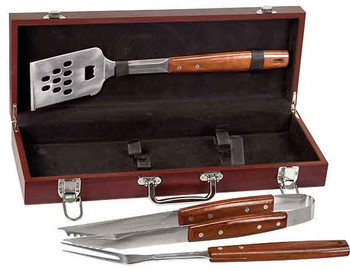 Engraved 3-Piece BBQ Set in Rosewood Finish Box