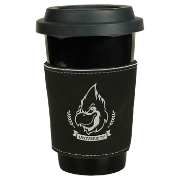 Black/Silver Leatherette Mug Sleeve with Custom Laser Engraving