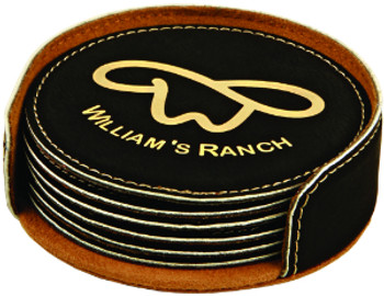 Black/Gold Leatherette Coaster Set with Custom Laser Engraving