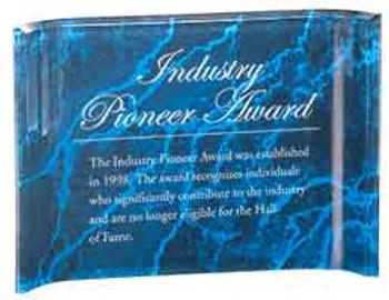 "Custom Engraved Blue Marbleized Acrylic Crescent Shaped Award (7"" x 5"")"