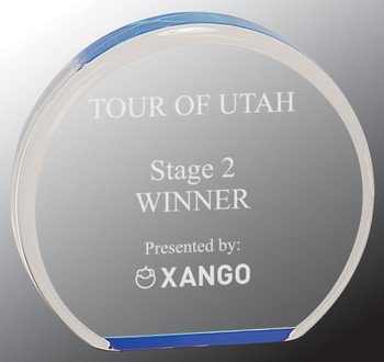 "Custom Engraved Blue Acrylic Circle Award (4.5"")"