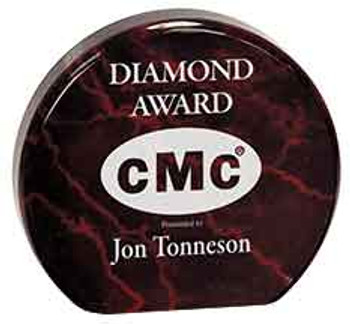 "Custom Engraved Red Marble Acrylic Circle Award (4.5"")"