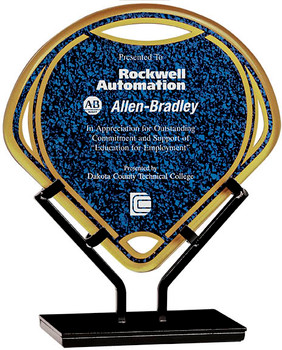 "Custom Engraved Blue Fan Acrylic Award on Iron Stand (8.5"")"