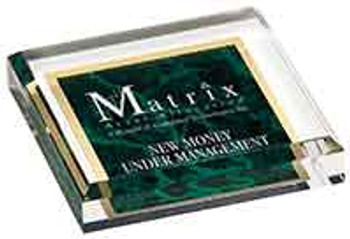 "Custom Engraved Green Marbleized Acrylic Paperweight (3.75"" x 3.75"")"