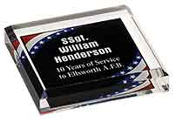 "Custom Engraved Stars and Stripes  Acrylic Paperweight (3.75"" x 3.75"")"
