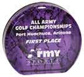 "Custom Engraved Purple Aurora Acrylic Circle Award (3.5"")"