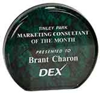 "Custom Engraved Green Aurora Acrylic Circle Award (3.5"")"