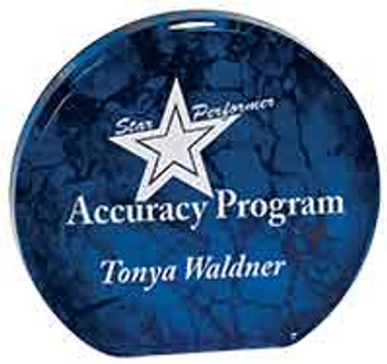 "Custom Engraved Blue Aurora Acrylic Circle Award (5.5"")"