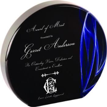 "Custom Engraved Blue Vapor Acrylic Round Award (5"")"