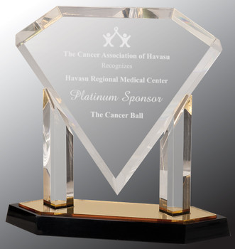 "Custom Engraved Clear Acrylic  Floating Diamond Award with Gold Base (10.75"")"
