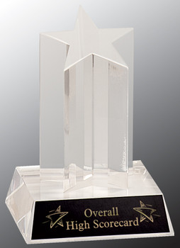 "Custom Engraved Clear Acrylic Star Award with Clear Base (5"")"