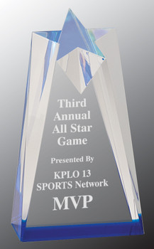 "Custom Engraved Blue Acrylic Sculpted Star Award (3.5"" x 6"")"