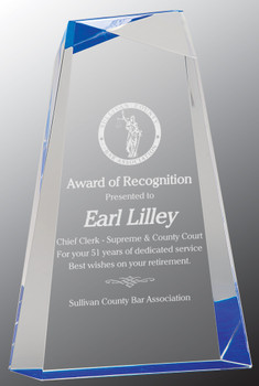 "Custom Engraved Blue Facet Wedge Acrylic Award (9"")"
