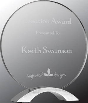 "Custom Engraved Clear Acrylic Round with Silver Base (8.5"")"