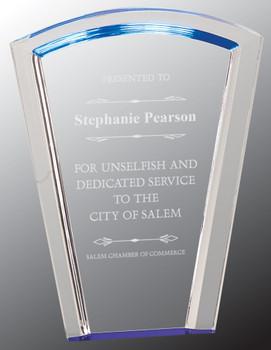 "Custom Engraved Blue Fan Halo Acrylic Award (8"")"