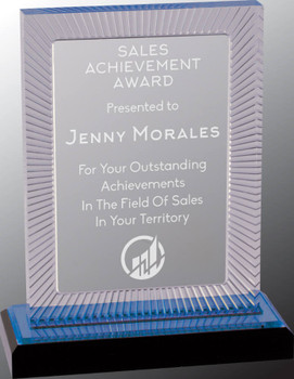 "Custom Engraved Blue Carved Rectangle Acrylic Award (7.75"")"