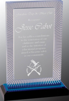 "Custom Engraved Blue Carved Rectangle Acrylic Award (8.75"")"