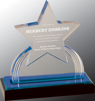 "Custom Engraved Blue Carved Star Acrylic Award (6.25"")"