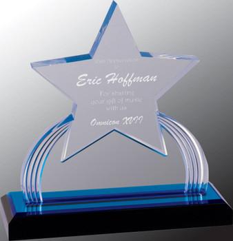 """Custom Engraved Blue Carved Star Acrylic Award (7.25"""")"""