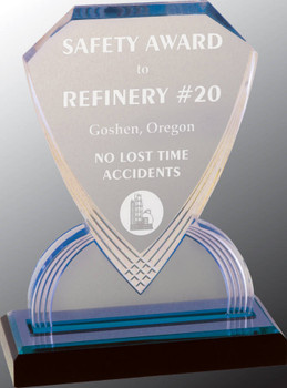 "Custom Engraved Blue Carved Shield Acrylic Award (8"")"