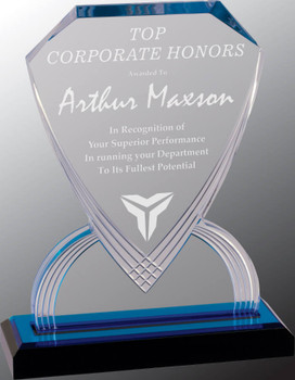 "Custom Engraved Blue Carved Shield Acrylic Award (9"")"