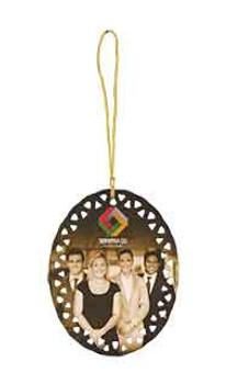 "3 3/4"" x 3"" White Sublimatable Oval Doily Ceramic Ornament"
