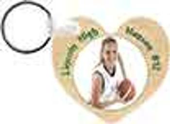 "2.25"" x 2.5"" Gloss White Heart Keychain"