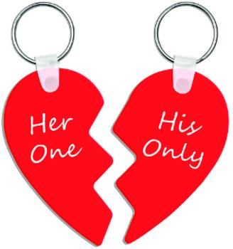 "2.73"" x 3.18"" Gloss White Aluminum Two-Part Heart Keychain"