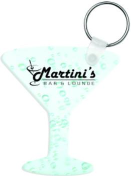 """2.5"""" x 2.75"""" Gloss White Aluminum Martini Glass Keychain"""