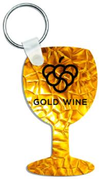 "1.6"" x 2.7"" Gloss White Aluminum Wine Glass Keychain"
