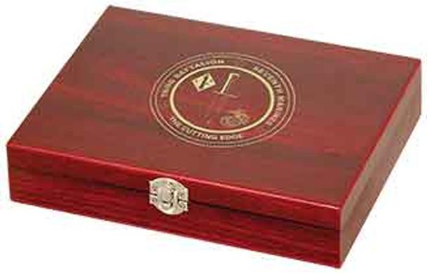 Engraved Rosewood Black Flask Set with Shot Glasses